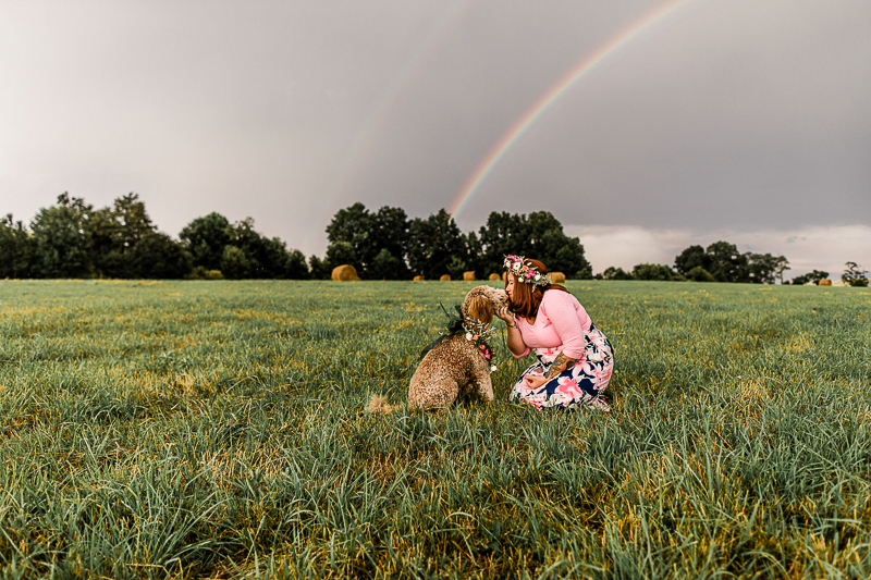 double rainbow, lifestyle pet photography at farm | © Jasmine White Photography | Princeton, WV