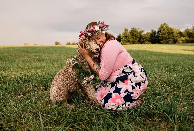woman hugging her Goldendoodle   dog-friendly portraits © Jasmine White Photography   Princeton, WV