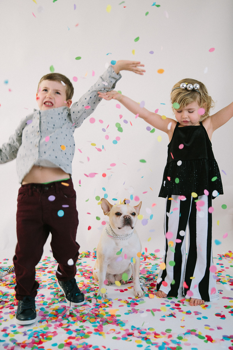 kids and dog photoshoot for New Year's Eve | ©Maine Tinker Photography, Freeport, Maine