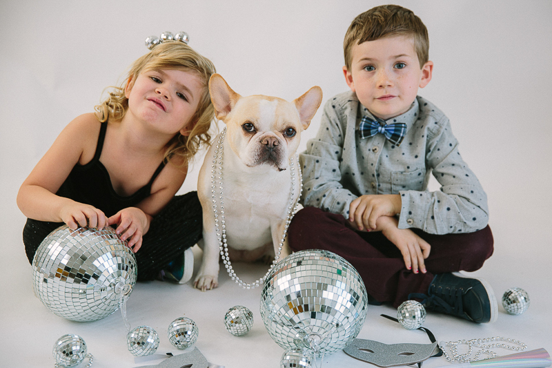 French Bulldog and kids New Years photoshoot | ©Maine Tinker Photography, Freeport, Maine