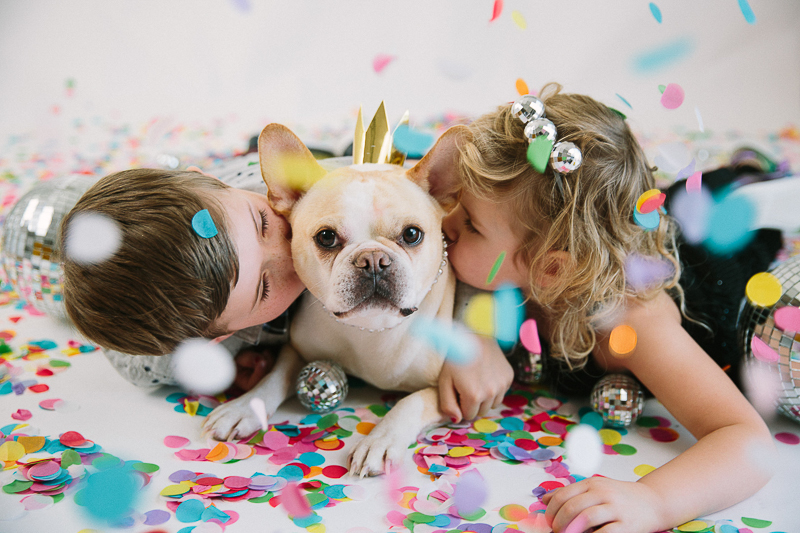 kids and their French Bulldog, celebrating New Year | ©Maine Tinker Photography, Freeport, Maine