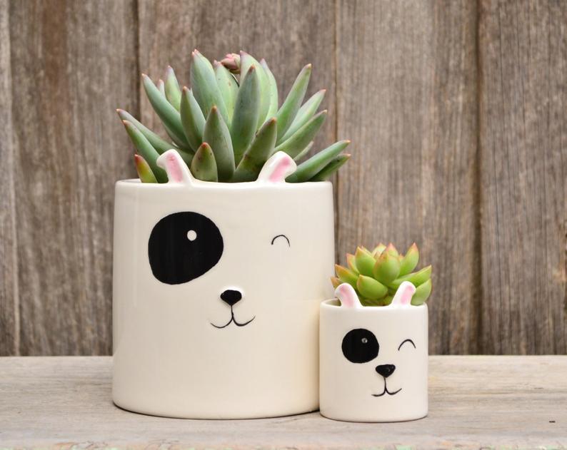 ceramic dog planter, gifts for dog lovers