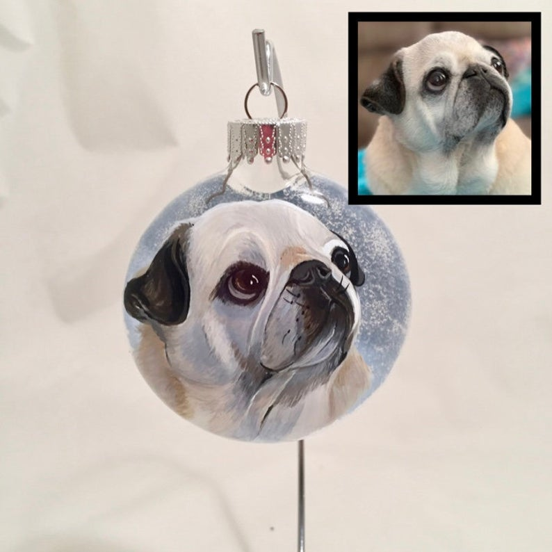 personalized hand painted pet ornament, unique gift for dog lover