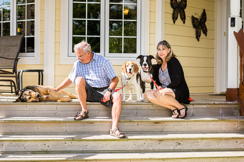 dogs and their humans on porch, lifestyle pet photography | Beth Photography