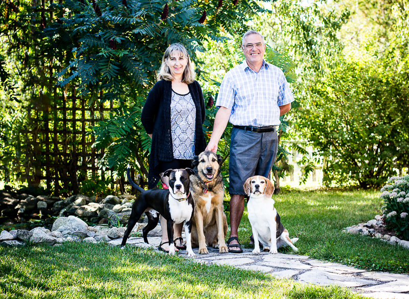 Shepherd mix, beagle, staffy mix and their humans, ©Beth Photography | Ontario, Canada pet photographer