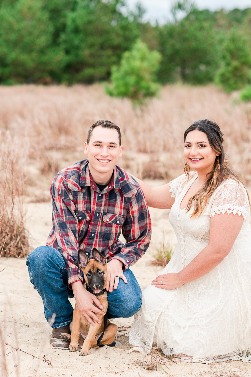 newlywed couple and their puppy, ©Catherine Crane Photography | pet photography, Virginia Beach, VA