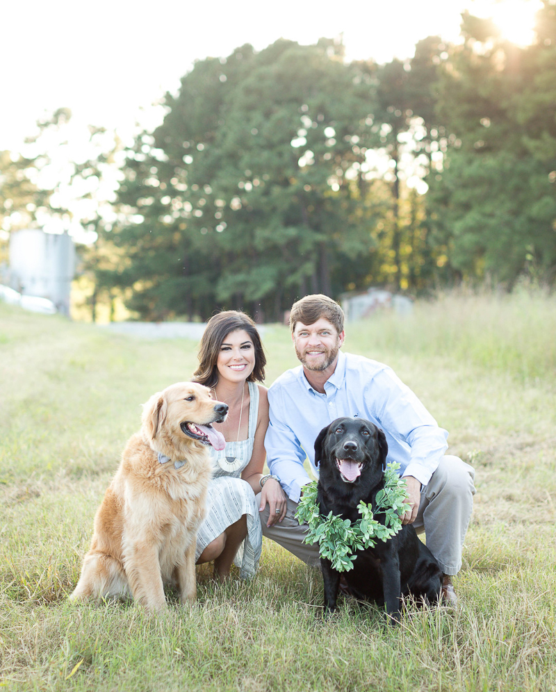 ©Brynn Gross Photography - sunset engagement photos with dogs, summer engagement photo ideas, Sandford, NC