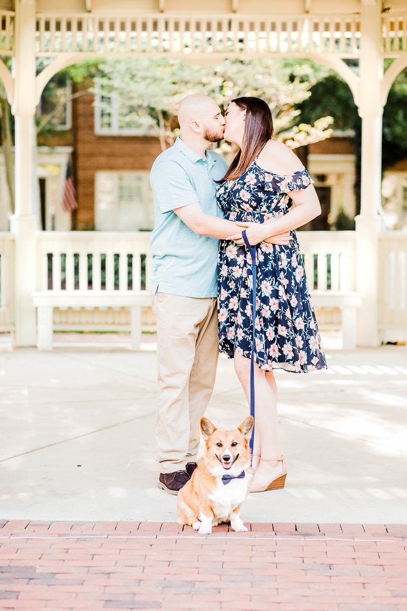 couple kissing, dog wearing bow tie | ©Morgan Lee Photography | Alexandria, VA