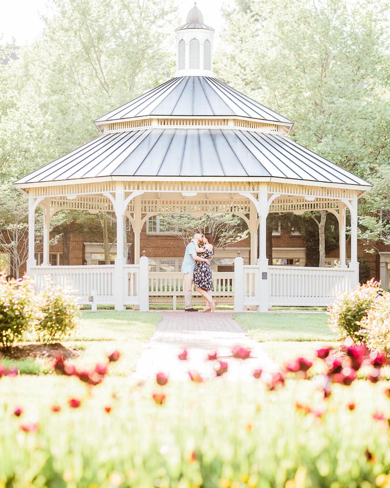 couple embracing in gazebo, ©Morgan Lee Photography | Alexandria Wedding Photography