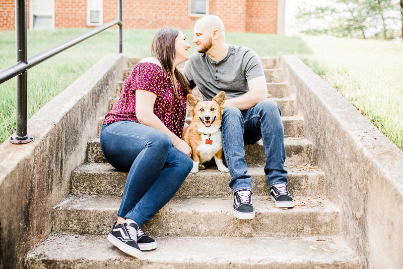 Corgi sitting on steps with couple | ©Morgan Lee Photography | Northern Virginia engagement photography
