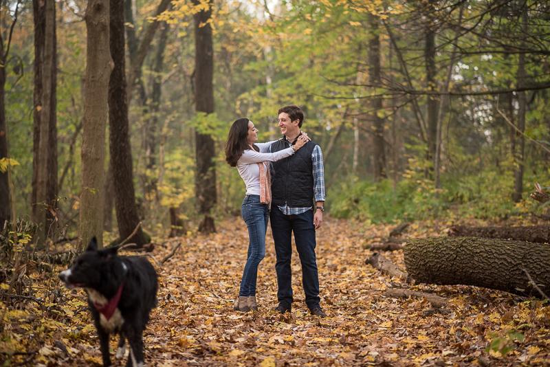 Fall dog-friendly engagement photos, ©Ueda Photography, Madison, WI