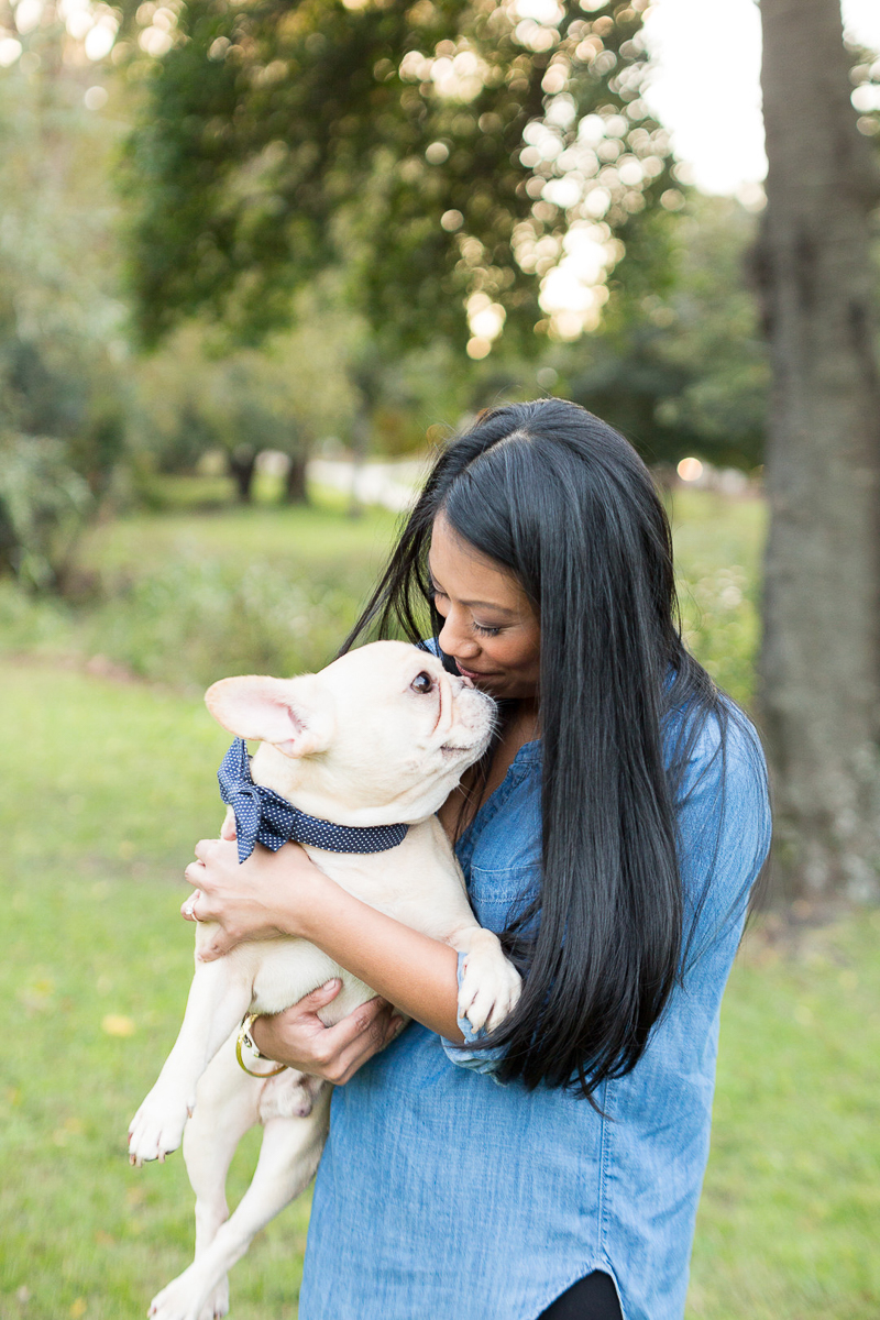 lifestyle dog photography, woman kissing Frenchie, ©Jessica Hunt Photography. Columbia, SC