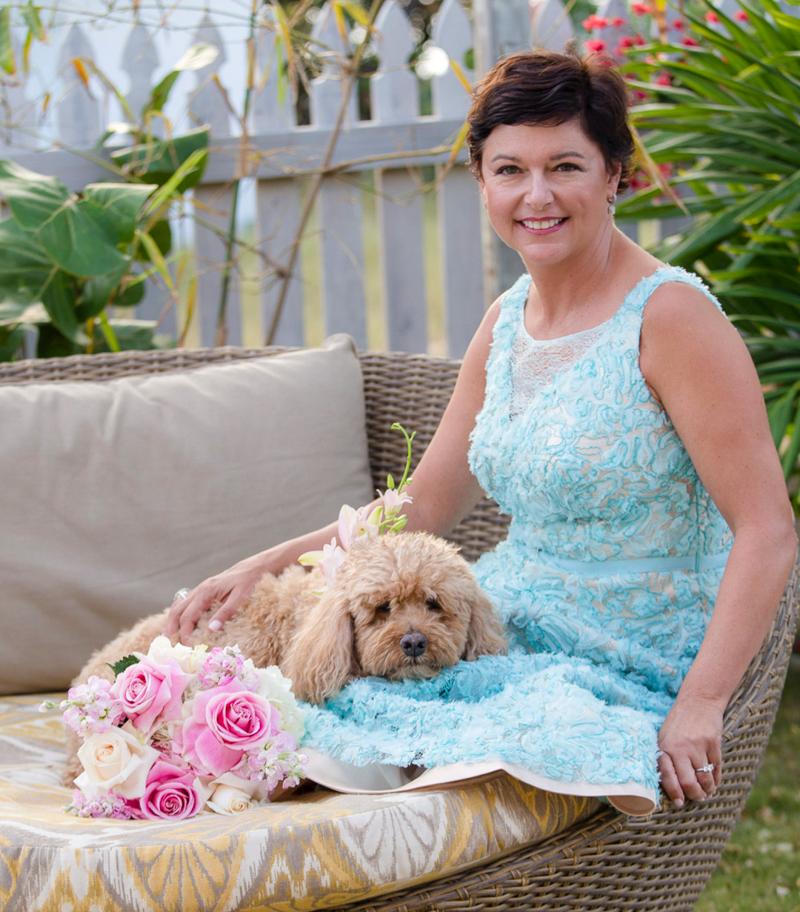 wedding dog and bride