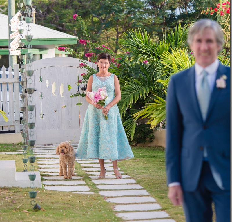 wedding dog, first look, Harbour Island, Bahamas