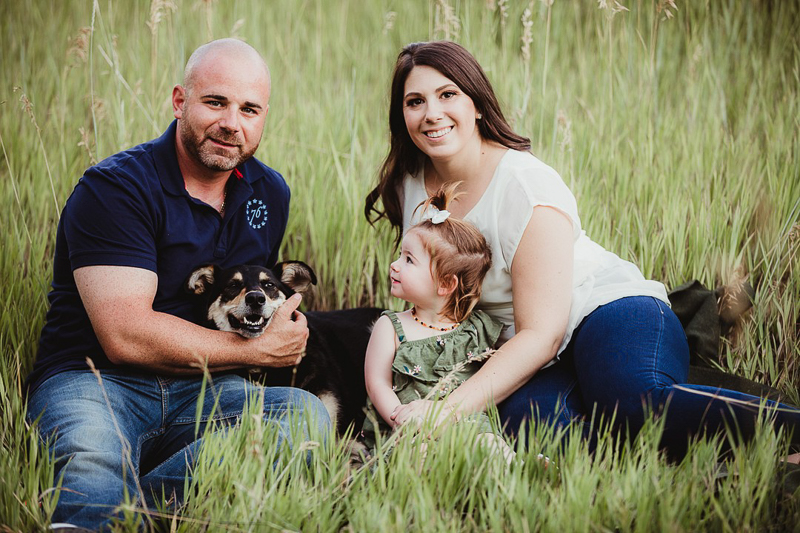 family portrait with dog and toddler, ©Good Morrow Photography | Arvada, CO