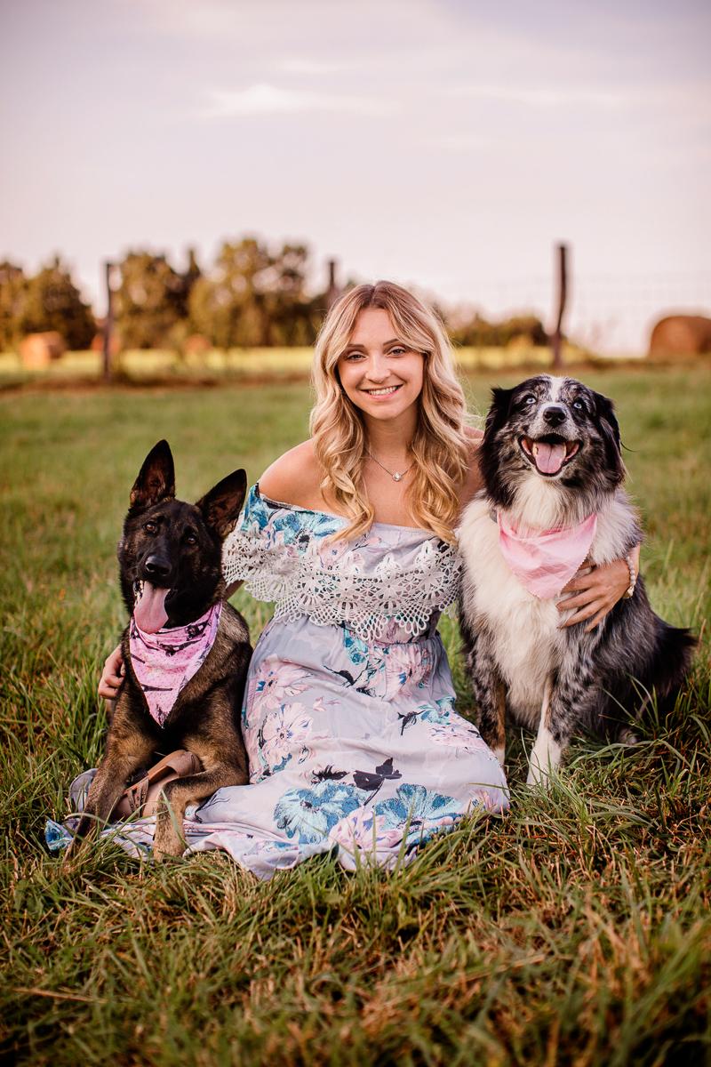 Summer pet portraits, woman and her dogs, German Shepherd, Aussie, | ©Jasmine White Photography, Princeton, WV
