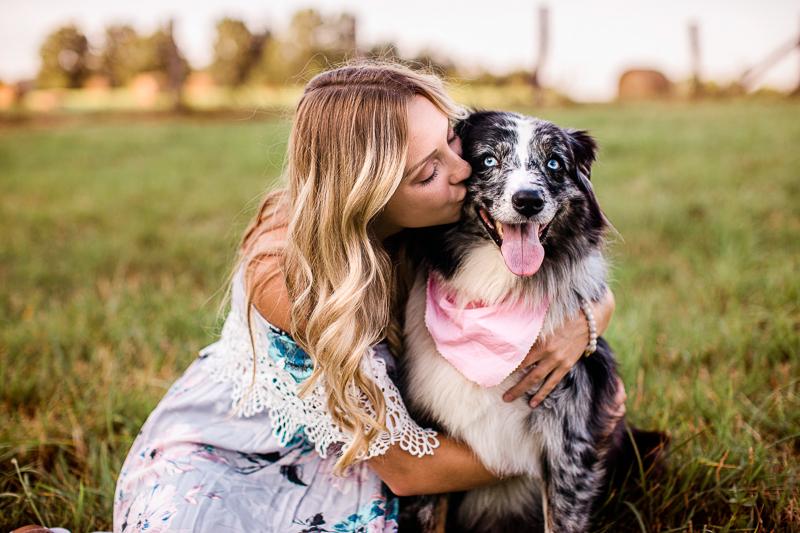 woman kissing her Australian Shepherd, lifestyle pet and people photography | ©Jasmine White Photography, Princeton, WV