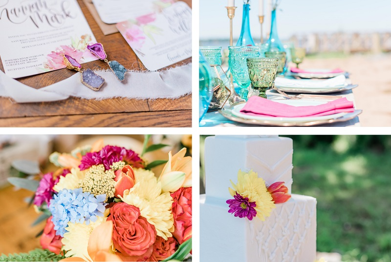 Landrum Photography, Boho wedding details | invitation, earrings, table setting, flowers, cake