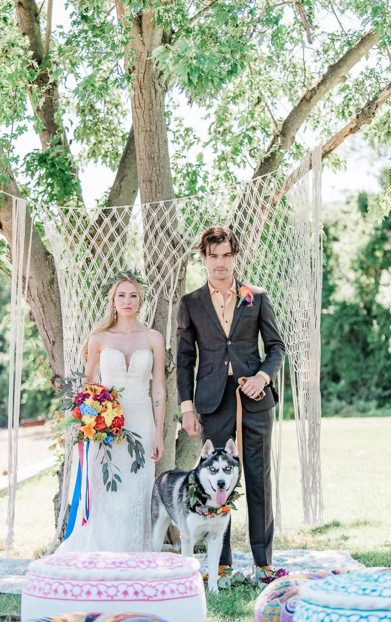 Boho wedding with a dog, styled shoot |©Landrum Photography