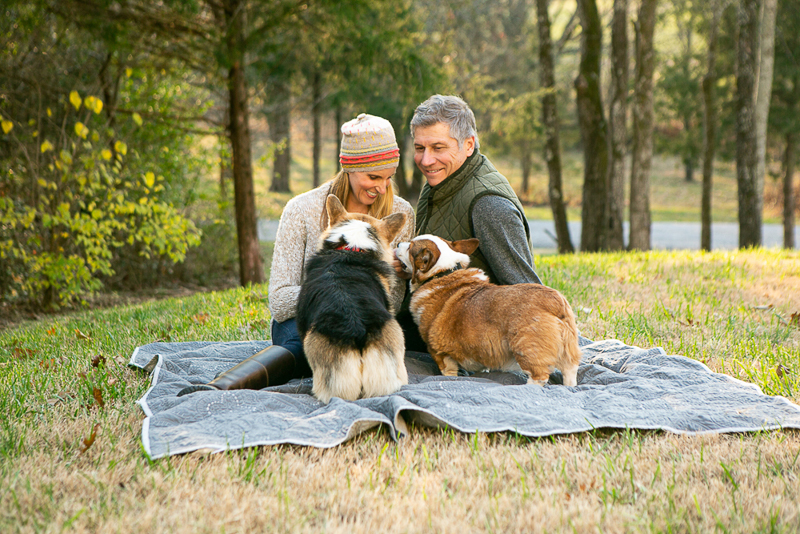 couple and Corgi duo on a blanket, cute Corgi butts, ©Mandy Whitley Photography, dog-friendly family photography, Nashville, TN