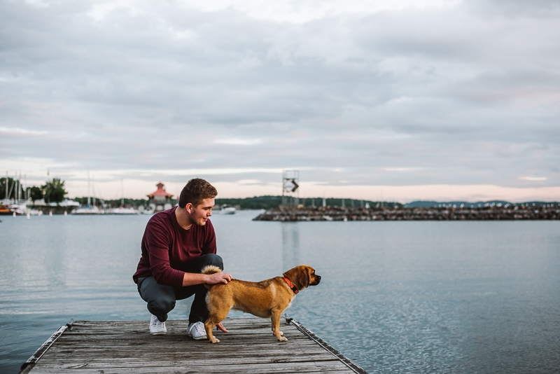 man and dog on dock, lifestyle pet photography, Burlington waterfront, ©Mei Lin Barral Photography
