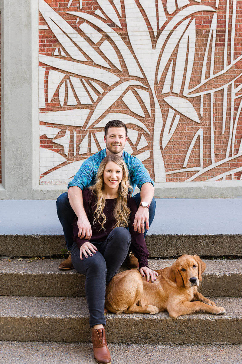 couple and their dog on steps, on location modern pet photography | Alice G Patterson Photography, Syracuse, NY