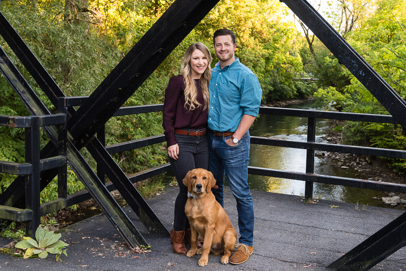 Golden Retriever and humans on bridge, on location family photos, Syracuse NY | ©Alice G Patterson Photography
