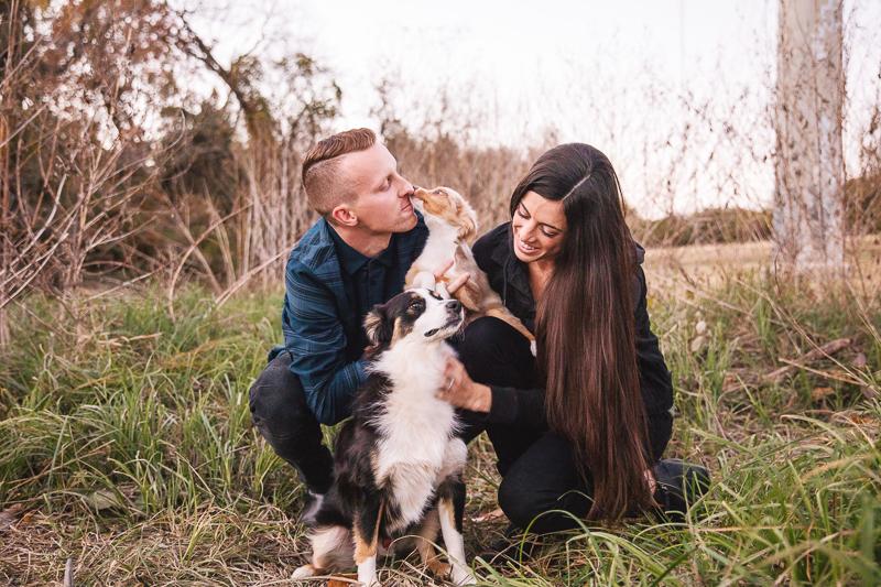 couple and their Mini Australian Shepherds ©Monika Normand Photography | Dallas lifestyle dog-friendly family photography