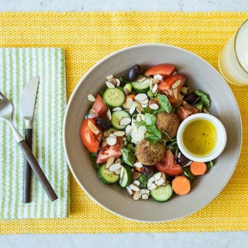 Seasonal Vegan Falafel Salad With Tart Cider Vinaigrette