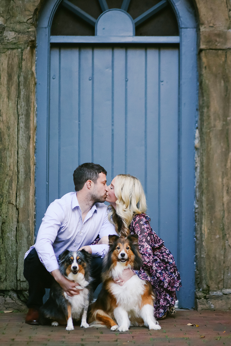 2 dogs and their humans in front of blue arched door, Helena Woods | Old Town Alexandria, VA
