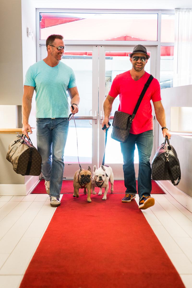 men walking into building with their dogs   ©Robert Evans Studios   San Francisco wedding photography