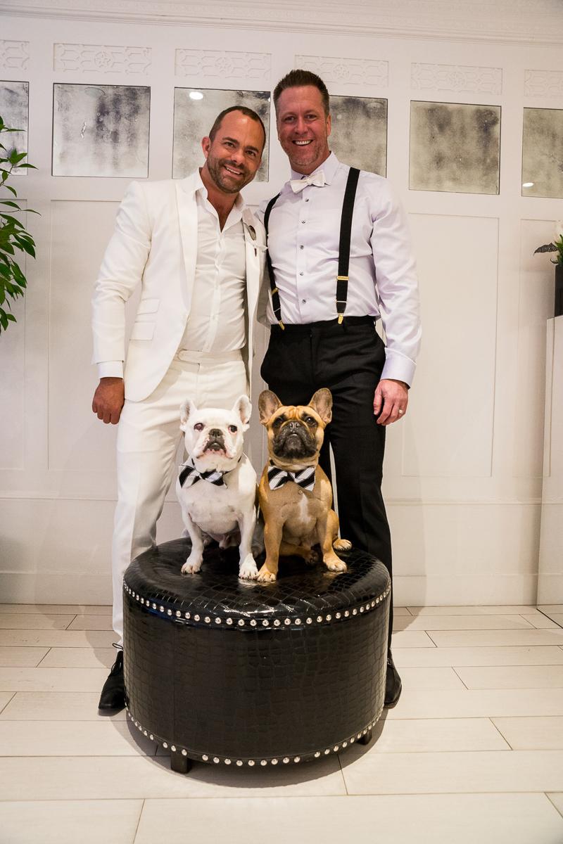 French Bulldogs and grooms, same sex wedding, ©Robert Evans Studios