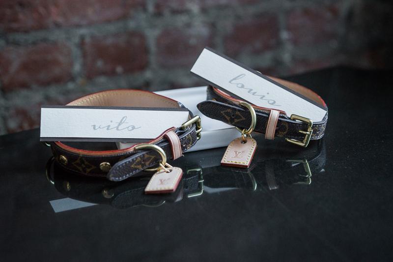 leather collars for wedding dogs   ©Robert Evans Studios dog-friendly wedding planning
