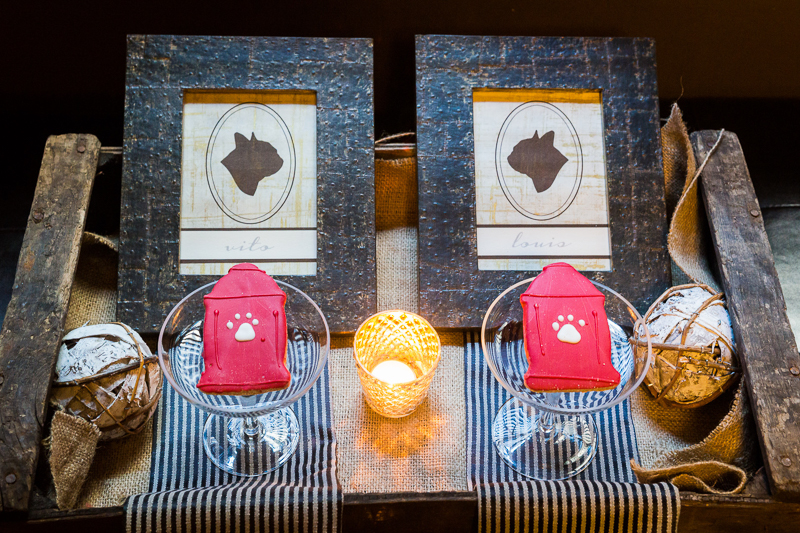 dog-friendly wedding details, fire hydrant cookies, Frenchie silhouettes | ©Robert Evans Studios