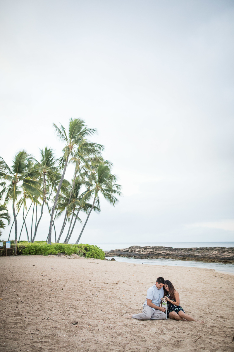 couple and their small dog sitting on the beach, Kapolei, Hawaii | ©VIVIDfotos