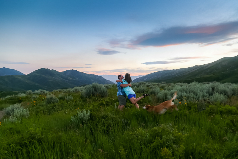 romantic portraits in Emigration Canyon, couple and their dog | ©Halie West Photography