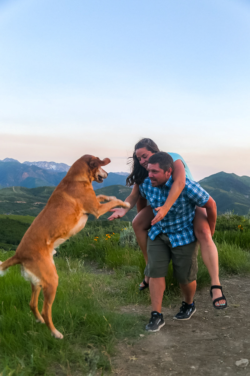 couple playing with dog, mountains in background, ©Halie West Photography | adventure dog photography