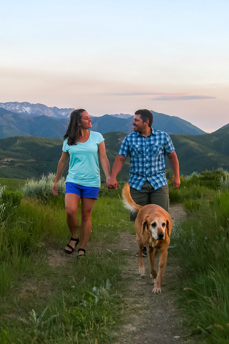couple and their retriever walking on trail, Emigration Canyon, Utah ©Halie West Photography | adventure dog photography