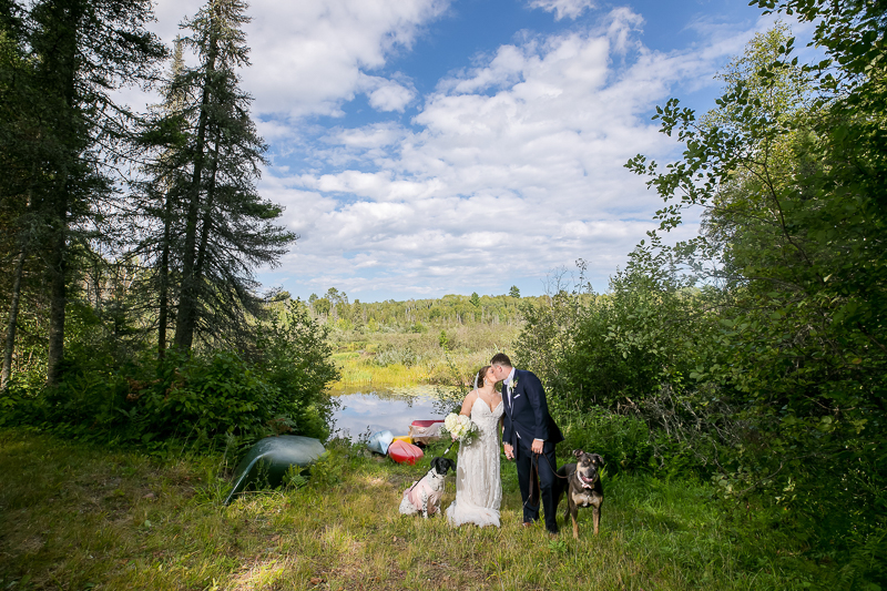bride and groom and their dogs in front of river or pond, ©Jeannine Marie Photography, Duluth, MN