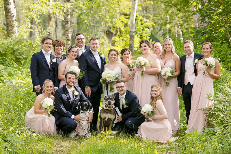 dogs at weddings, wedding party with dogs, ©Jeannine Marie Photography, Duluth, MN