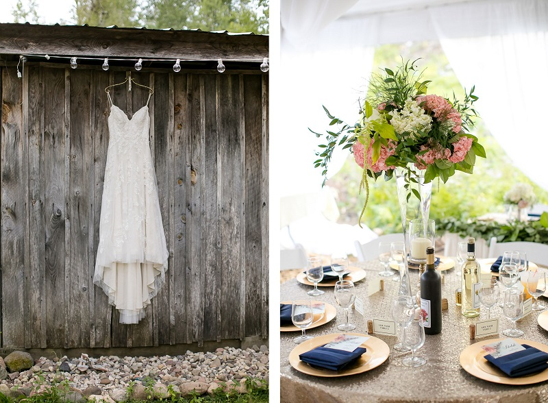 wedding dress hanging on barn, wedding reception details ©Jeannine Marie Photography