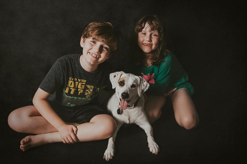 studio dog and kids portraits | ©Trademark Photos by Tami McKenney, Sapulpa, Oklahoma