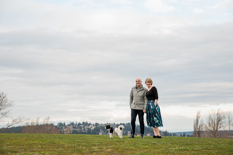 couple and poodle mix, Magnuson Park, ©M Laine Photography dog-friendly family photography Seattle, WA