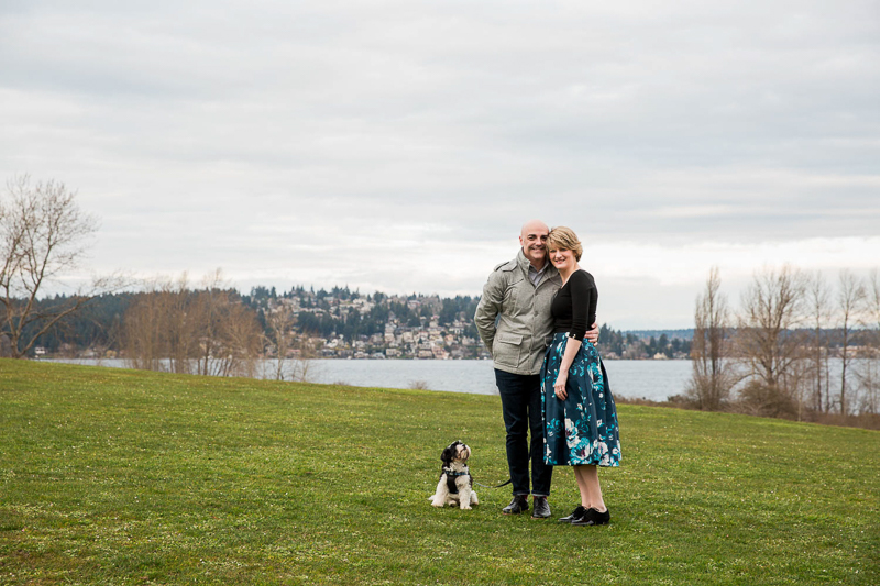 small mixed breed and his humans, Magnuson Park, Seattle, WA | ©M Laine Photography