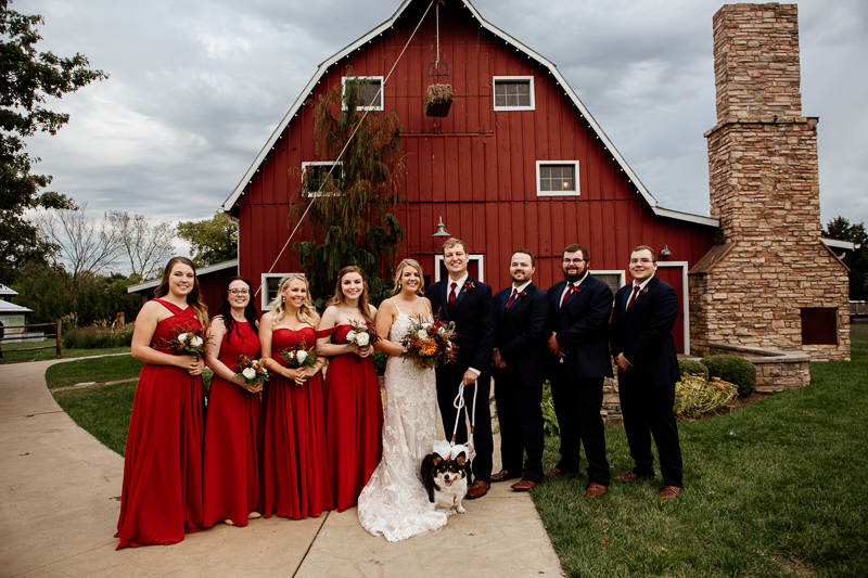 fall wedding party in front of red barn, dog of honor | © McKenzie Bigliazzi Photography, Wright City, MO