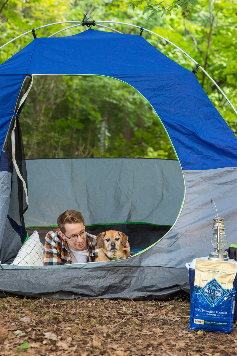 BLUE Life Protection Formula™ revies, ©Alice G Patterson Photography, dog and young man in tent, #BLUESierraDelta