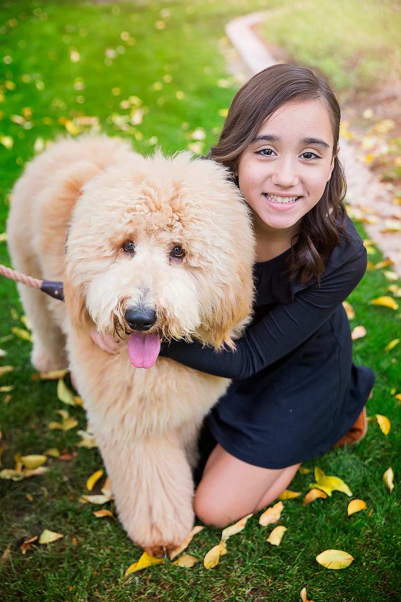 girl and her dog, Goldendoodle, ©Laura Gordillo Photography | people and their pets, Phoenix, AZ