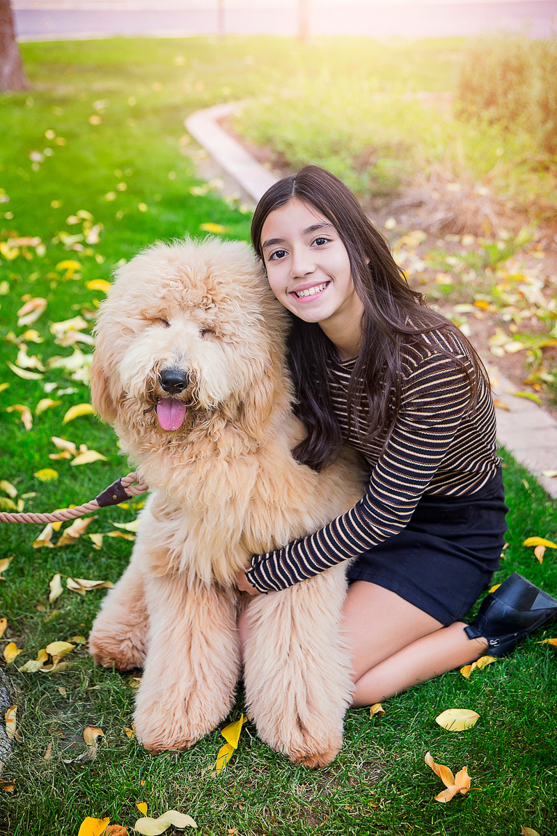 happy dog and girl, family photos with pets | ©Laura Gordillo Photography | Phoenix, AZ