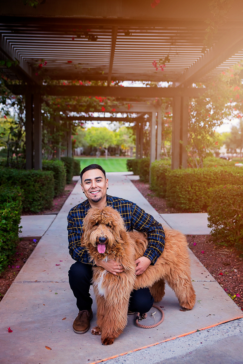 man and Goldendoodle, man's best friend | pet-friendly portraits, ©Laura Gordillo Photography