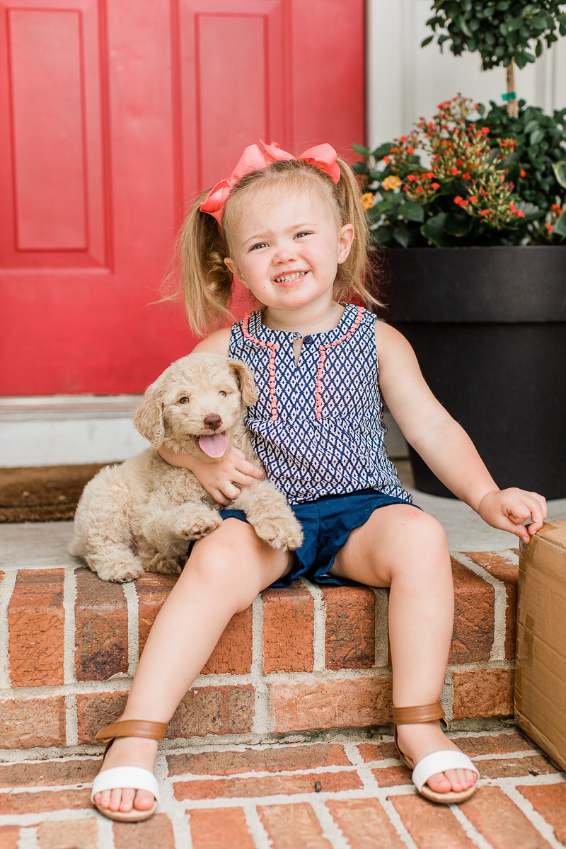 toddler and her puppy, ©Brandy Morrison Photography | dog-friendly family portraits, Lexington, SC